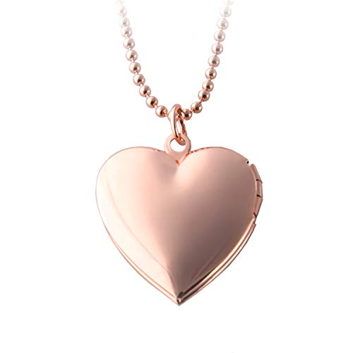 POWER WING Heart Locket Necklace That Holds Pictures,Rose Gold Plated Memory Photo Lockets,for Girls Gifts