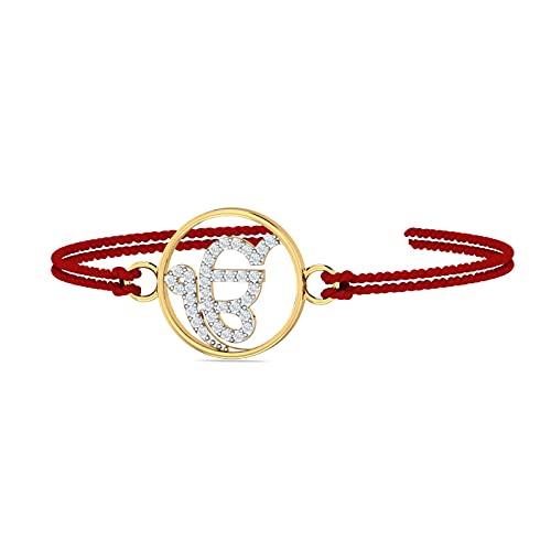 KuberBox Ik Onkar 14K Gold and Diamond Rakhi Bracelet for Men/Boys