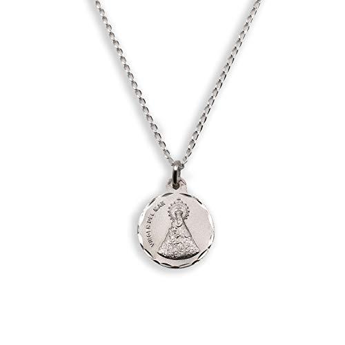 Medalla Religiosa - Virgen de del Mar 21 mm con Cadena Bilbao 40 cm. Plata de Ley 925 milésimas