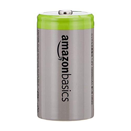 AmazonBasics C Cell Rechargeable Batteries 5000mAh Ni-MH, 4-Pack (Renewed)