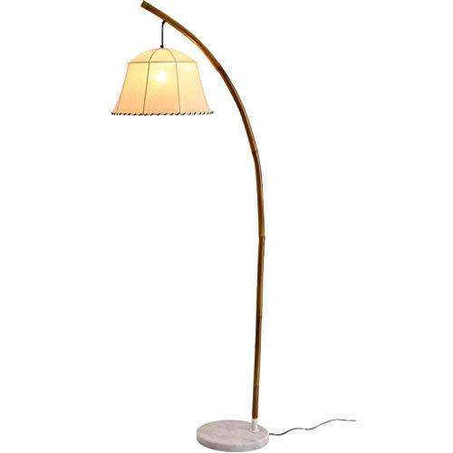 MYBA Lámpara de pie retro mano de bambú lámpara de suelo salón dormitorio Bedside E27 suelo lectura de la luz de tela de la pantalla lámpara de pie (color: A)