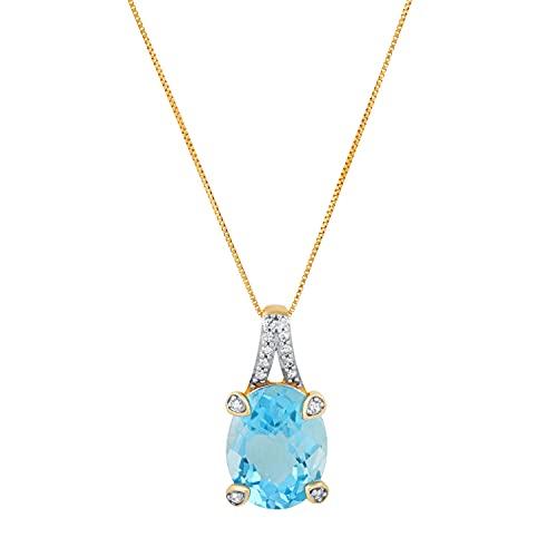 Dazzlingrock Collection Colgante ovalado de topacio azul y diamante blanco redondo de 11 x 9 mm, con cadena de oro de 45,7 cm, oro amarillo de 10 quilates