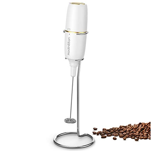 HadinEEon Milk Frother Handheld, Electric Milk Foamer for Coffee, Coffee Frother with Stainless Steel Whisk, Drink Mixer for Bulletproof Coffee, Lattes, Cappuccinno, Matcha and Hot Chocolate