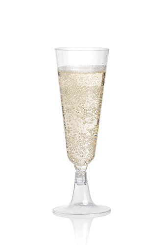 DRINKET PLASTIC CHAMPAGNE FLUTES / CHAMPAGNE GLASSES | 5 Ounce 2 Piece Toasting Glasses 100 CT | Disposable Champagne Flutes Bulk Pack Perfect for Wedding / Party Cocktail Cups