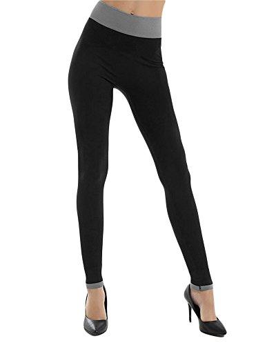 Femme Leggings de Sport Pantalon de Course Collant de Sport Pantalon de Sport Fitness Pantalon Yoga Joggings Noir XL