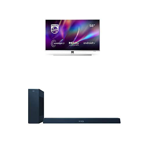 Philips 58PUS8505/12 58-Zoll 4K UHD TV mit Ambilight (P5 Picture Engine, Dolby Vision∙Atmos, Sprachassistent, Android TV) mit Soundbar B8405/10 inkl. Subwoofer (Bluetooth, 240W, DTS Play-Fi)