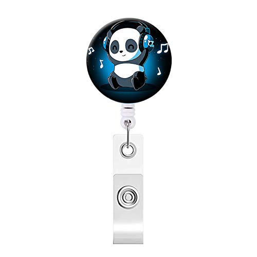 Badge Reel, Happy Cute Panda Retractable ID Card Badge Holder with Alligator Clip, Name Nurse Decorative Badge Reel Clip on Card Holders
