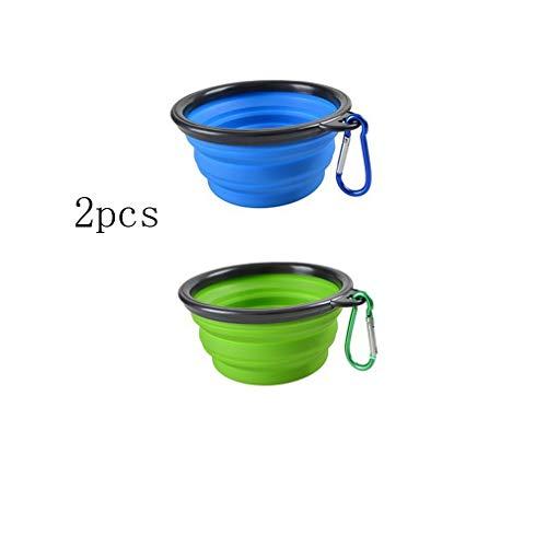shun yi inklapbare hond kom 2-pack, inklapbare reizen voedsel en water kom voor huisdieren, niet-giftige en veilige siliconen Feeder Bowl, draagbare Travel Bowl blauw en groen gratis karabijnhaak