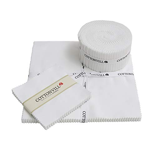 COTTONVILL 20COUNT Cotton Solid Quilting Fabric (2.5inch Strip, 01-White)