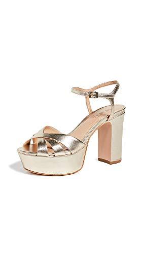 SCHUTZ Women's Keefa Platform Sandals, Platina, Metallic, Gold, 8 Medium US