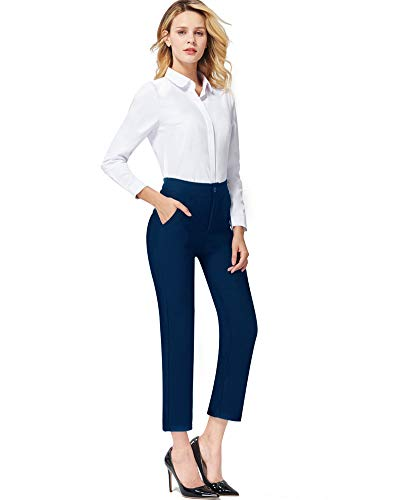 Ginasy Dress Pants for Women Stretch Pull-on Pants Ease into Comfort Office Ponte Pants (Navy Blue Straight Leg, S)