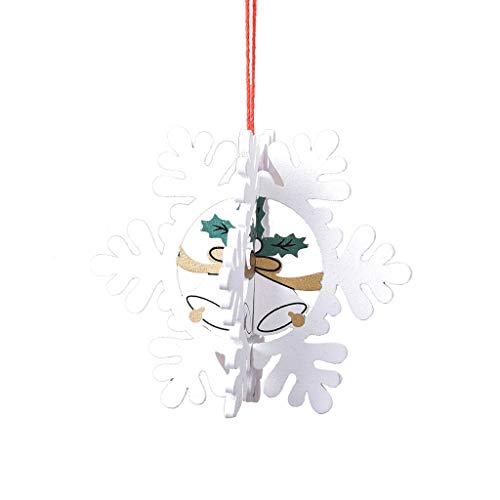 Christmas Decorations Wooden Hollow Three-Dimensional Snowflake Ornaments Christmas Tree Bell Pendant Wood Ornaments for Crafts