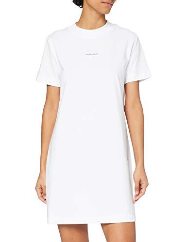 Calvin Klein Jeans Micro Branding T-Shirt Dress Vestido, Blanco Brillante, XS para Mujer