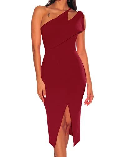 Vestidos Elegantes de Fiesta de cóctel de Color sólido con Abertura Alta sin Mangas con un Hombro para Mujer (L,Red)