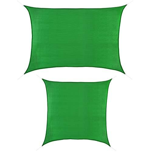 BB Sport Sonnensegel 2m x 3m Smaragd HDPE Rechteckig UV Schutz Garten Terrasse Camping Sonnenschutz Windschutz Schattenspender