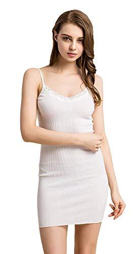 Damen Schlafkleid Sommer Unifarben Nachtkleid Strapsgürtel Off Shoulder Elegant Jungen Ärmellos Fashion Nachtwäsche Einfach Style Etuikleid Schlafanzug (Color : Weiß, Size : One Size)
