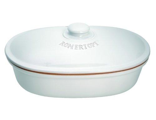 Oval Brottopf aus Naturton in weiß