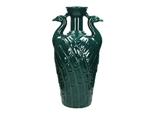 Peacock vaas - keramiek - petrol - 18,4 x 22,5 x 45,4 cm