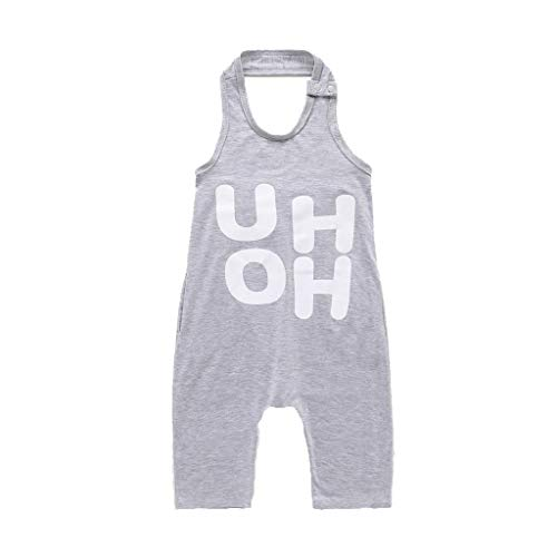 Julhold Toddler Baby Boys & Girls Mode sans Manches Impression Backless Loose Combinaison en Coton Barboteuse 1-6 Ans - Gris - 18-24 Mois