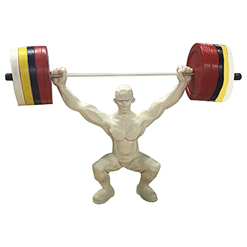 Figuren Gewichtheben Kunstharz Statue, Atemberaubende Skulptur Sport Fitnessstudio Bodybuilding Muskulöse männliche Figur, Wohnzimmer-Dekoration Für Handgemachte Verzierung (Grau)