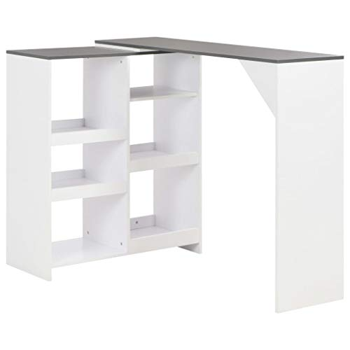 vidaXL Bartisch mit Beweglichem Regal Bartresen Stehtisch Tisch Tresentisch Bistrotisch Küchentheke Frühstückstisch Küchentisch Weiß 138x40x120cm