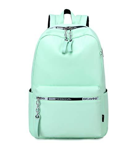 Acmebon Zaino ragazza per la scuola, Zaino classico in tinta unita, borsa semplice casual Verde chiaro