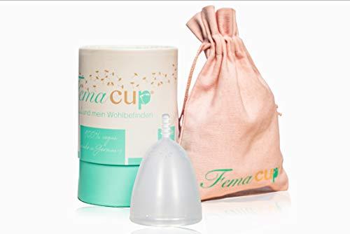 FemaCup® Menstruationstasse Größe M (25-30 ml) - 100% Made in Germany - BPA-frei - geruchlos - medizinisches Silikon - Alternative zu Tampons und Binden - Farbe transparent