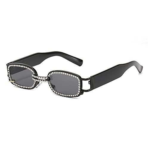 DLSM Retro Metal Punk Femenino Diamante Gafas de Sol Moda Small Rectángulo Masculino Gafas de Sol Sombras UV400 Adecuado para Playa, Golf, Viajes al Aire Libre-Gris Negro