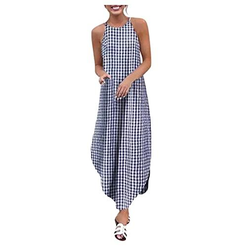 Vestido de verano para mujer, sin mangas, cuello redondo, sexy, informal, holgado, para la playa azul XL