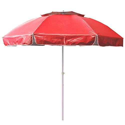 Wsaman Ronda Parasol, 2,4 M / 7,9 pies Consola Grande Pesca Sombra Paraguas Sun Autoportante Impermeable Protectora UV para Jardín Exterior Terraza Patio Refugio Ombrilla Mercado,Rojo,Normal Version