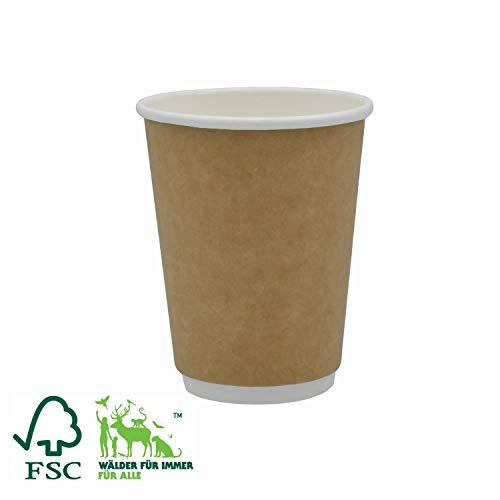 Pack&Cup Bio Doppelwand-Thermobecher Kaffee to Go umweltfreundliche Pappbecher Kraft 300 ml (12 OZ) 20 Stück