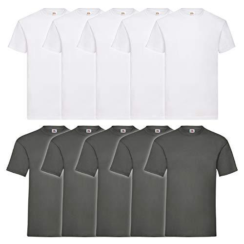 10 Fruit of the loom T Shirts Valueweight T Rundhals S M L XL XXL 3XL 4XL 5XL Übergröße Diverse Farbsets auswählbar (L, 5 Weiß / 5 Graphit)