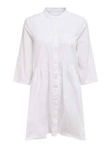 ONLY Damen ONLCHICAGO 2/4 Sleeve DNM Dress Kleid, Weiß (White White), Large (Herstellergröße: 40)
