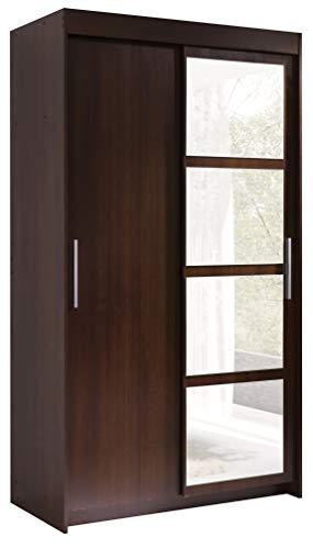 FurnitureByJDM - Moderne garderobekast 2 schuifdeuren - KARO - met spiegel. Breedte: 120cm Hoogte: 216cm Diepte: 60cm - (Wenge)