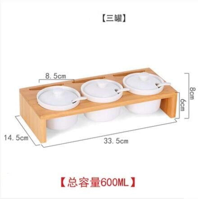 Home Supplies Kitchen Seasoning Tools Ceramic Seasoning Jar Set Salt Sugar Seasoning Box Spice Jar Kitchenware Accessories   3pieces