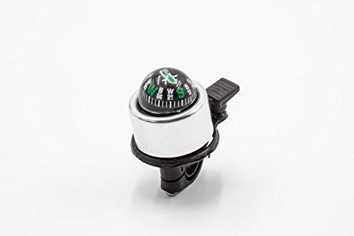 vhbw Fahrradklingel Schelle Glocke mit Kompass Silber Aluminium/Kunststoff