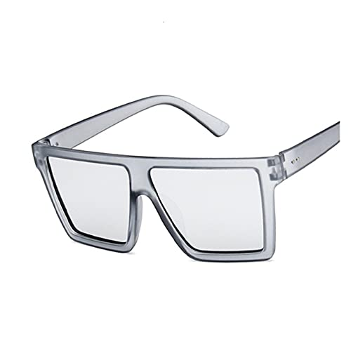 XHJLNNY XINHEJULN Gafas de Sol cuadradas Retro de Gran tamaño, Gafas de Sol Grandes Marco, Hembra Exquisito y aplicable (Color : Gray Silver)