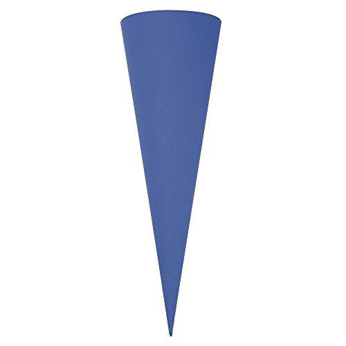 Rayher 7133909 Schultüte, aus Pappe zum Basteln und Selbstgestalten, Rohling ohne Verschluss für Zuckertüte oder Geschwisterschultüte, rund, blau, 35 cm