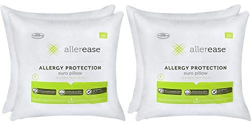 AllerEase Cotton Allergy Protection Hypoallergenic Euro Pillow, 3-Year Warranty, Machine Washable (Pack of 4)