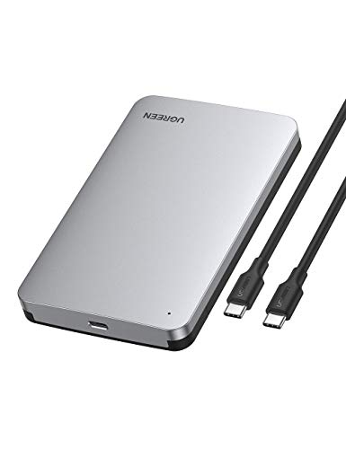 UGREEN USB C Hard Drive Enclosure 2.5 SATA Disk Caddy External HDD SSD Reader Adapter 6Gbps UASP Type C 3.1 Gen2 Thunderbolt 3 Case Compatible With MacBook Windows Linux PS4 Xbox 0.5M USB C Cable