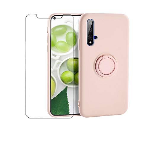 Handyhülle Kompatibel Mit Huawei Nova 5T Hülle Silikon, Huawei Nova 5T Hülle Grün, Schutzhülle Weich Tasche Mit 1 Panzerglas & Magnetic Car Halterung (Rosa, Huawei Nova 5T)
