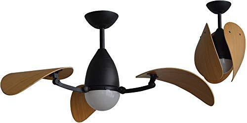 Martec | Ventilador de Techo con Luz Led Vampire y Motor DC | 4 Aspas | 3 Configuraciones de color de luz distintas | Incluye Mando a distancia | Consumo A+ | Color Cuerpo Negro/Aspas Bambú