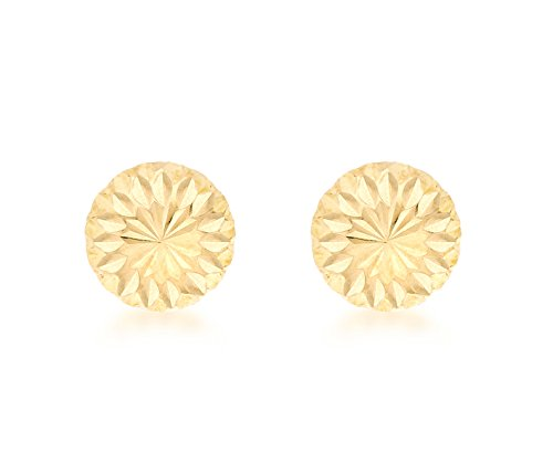 Carissima Gold 9ct Yellow Gold 7mm Diamond Cut Half Ball Stud Earrings