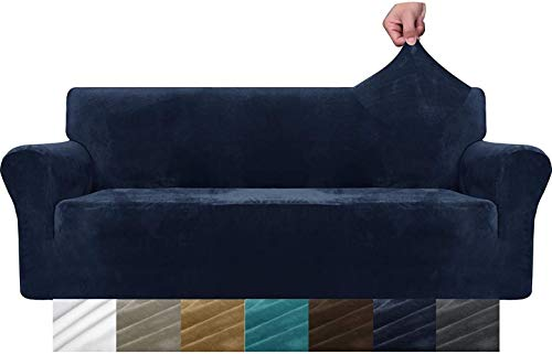 Mazu Homee - 3 fundas de sofá de terciopelo súper gruesas, superelásticas antideslizantes para perros, 1 funda de sofá de felpa para proteger muebles (sofá, gris)