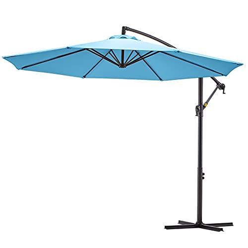 VINEY BOUTIQUE Patio Offset Hanging Umbrella 10 ft. Outdoor Cantilever Umbrella   Fade Resistant Solution-Dyed Canopy   Infinite Tilt & Cross Base   for Yard, Garden, Deck & Lawn (Sky Blue)