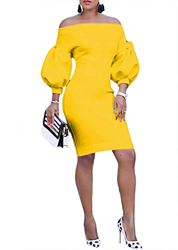 Ophestin Women Puff 3/4 Sleeve Off The Shoulder Bodycon Knee Length Party Pencil Midi Dress Yellow XL