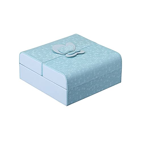 FACHA Joyero unisex Juelee doble estilo arco abierto estilo joyería PU cuero anillo anillo magnético joyería para mujer (color: azul, tamaño: 15 x 15 x 6,5 cm)