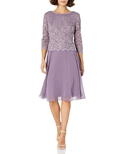 Alex Evenings Women's Sequin Lace Mock Dress (Petite and Regular), ICY Orchid, 6P