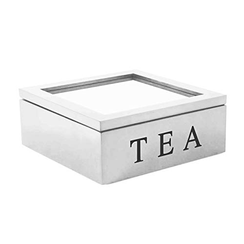 Trafagala Teebox aus Holz Luxeriöse Tee Aufbewahrung Box Holz, Teekiste mit 9 Fächern für die Teebeutel Aufbewahrung – praktische Box mit Sichtfenster im Deckel(Weiß)