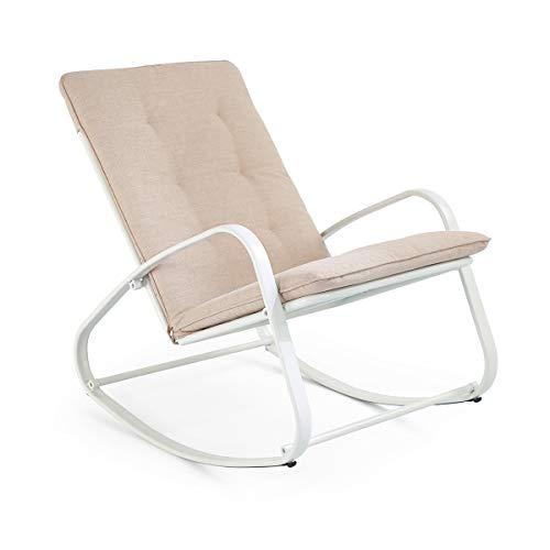 SUNDO Outdoor Schaukelstuhl, Schwingsessel, Schaukelliege mit Kissen, Gepolsterter Relax-Sessel, Gartenstuhl mit Armlehne, Gestell aus Stahl (Weiß)